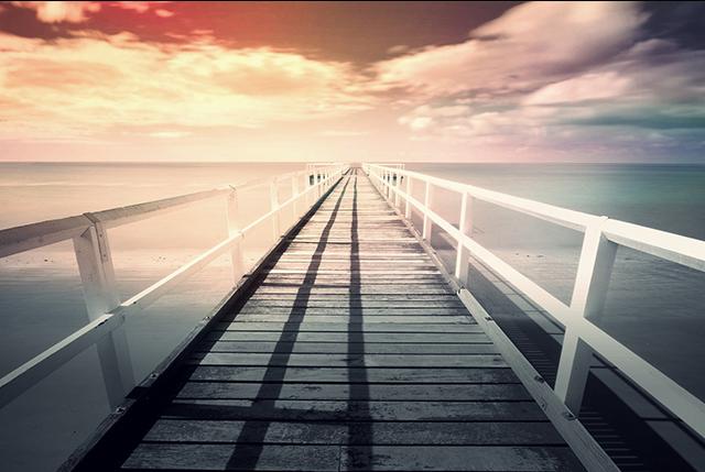 pier facing sunset